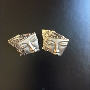 Asian Art Deco Style Post Earrings